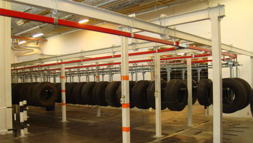 Convoynort - Overhead handling - Manual monorail - Stock area for tire treatment